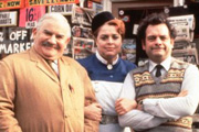 Open All Hours: A Celebration. Image shows from L to R: Ronnie Barker, Lynda Baron, David Jason. Copyright: BBC.