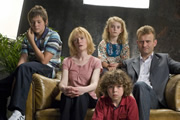 Outnumbered. Image shows from L to R: Jake (Tyger Drew-Honey), Sue (Claire Skinner), Karen (Ramona Marquez), Ben (Daniel Roche), Pete (Hugh Dennis). Copyright: Hat Trick Productions.