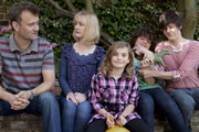 Outnumbered. Image shows from L to R: Pete (Hugh Dennis), Sue (Claire Skinner), Karen (Ramona Marquez), Ben (Daniel Roche), Jake (Tyger Drew-Honey). Copyright: Hat Trick Productions.