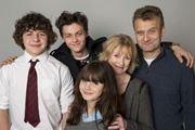 Outnumbered. Image shows from L to R: Ben (Daniel Roche), Jake (Tyger Drew-Honey), Karen (Ramona Marquez), Sue (Claire Skinner), Pete (Hugh Dennis). Copyright: Hat Trick Productions.