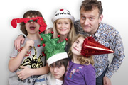 Outnumbered. Image shows from L to R: Ben (Daniel Roche), Jake (Tyger Drew-Honey), Sue (Claire Skinner), Karen (Ramona Marquez), Pete (Hugh Dennis). Copyright: Hat Trick Productions.