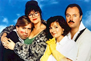 Outside Edge. Image shows from L to R: Kevin Costello (Timothy Spall), Maggie Costello (Josie Lawrence), Miriam Dervish (Brenda Blethyn), Roger Dervish (Robert Daws). Copyright: Central Independent Television.