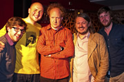 Pappy's Flatshare Slamdown Podcast. Image shows from L to R: Matthew Crosby, Tom Parry, Andy Zaltzman, Richard Herring, Ben Clark.