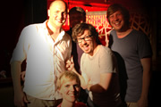Pappy's Flatshare Slamdown Podcast. Image shows from L to R: Tom Parry, Rufus Hound, Holly Walsh, Matthew Crosby, Ben Clark.