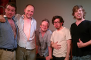Pappy's Flatshare Slamdown Podcast. Image shows from L to R: Matt Forde, Tom Parry, Robin Ince, Matthew Crosby, Ben Clark.