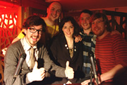 Pappy's Flatshare Slamdown Podcast. Image shows from L to R: Matthew Crosby, Tom Parry, Bridget Christie, Jon Richardson, Ben Clark.