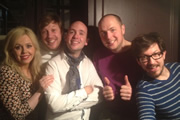 Pappy's Flatshare Slamdown Podcast. Image shows from L to R: Roisin Conaty, Ben Clark, Tom Allen, Tom Parry, Matthew Crosby.