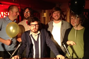 Pappy's Flatshare Slamdown Podcast. Image shows from L to R: Tom Parry, David Earl, Matthew Crosby, Ben Clark, Josh Widdicombe.