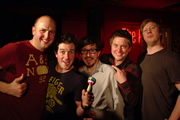 Pappy's Flatshare Slamdown Podcast. Image shows from L to R: Tom Parry, Dominic Wood, Matthew Crosby, Richard McCourt, Ben Clark.