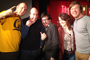 Pappy's Flatshare Slamdown Podcast. Image shows from L to R: Tom Parry, Norman Lovett, Matthew Crosby, Cariad Lloyd, Ben Clark.