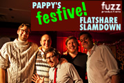 Pappy's Festive Flatshare Slamdown 2011. Image shows from L to R: Humphrey Ker, Tom Parry, Matthew Crosby, Ben Clark, Iain Lee.
