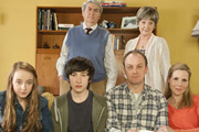Parents. Image shows from L to R: Becky Pope (Jadie Rose Hobson), Len Miller (Tom Conti), Sam Pope (Christian Lees), Nick Pope (Darren Strange), Alma Miller (Susie Blake), Jenny Pope (Sally Phillips). Image credit: Objective Productions.