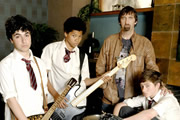 Parents Of The Band. Image shows from L to R: Eddie Soutakis (David Barseghian), Granville Cunningham (Franz Drameh), Phil Parker (Jimmy Nail), Jack Parker (Peter Losasso). Image credit: British Broadcasting Corporation.