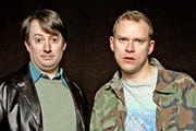 Peep Show. Image shows from L to R: Mark Corrigan (David Mitchell), Jeremy Osborne (Robert Webb). Image credit: Objective Productions.