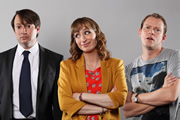 Peep Show. Image shows from L to R: Mark Corrigan (David Mitchell), Dobby (Isy Suttie), Jeremy Osborne (Robert Webb). Image credit: Objective Productions.