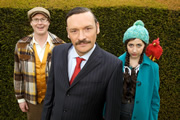 Penelope Princess Of Pets. Image shows from L to R: Kyle (Kurt Braunohler), Thomas Stone MP (Julian Barratt), Penelope (Kristen Schaal). Copyright: Avalon Television.