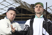 People Just Do Nothing. Image shows from L to R: Beats (Hugo Chegwin), Grindah (Allan Mustafa). Copyright: Roughcut Television.