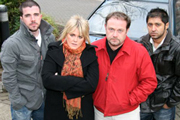 Pick Ups. Image shows from L to R: Dave (Phil Rowson), Lind (Sally Lindsay), Mike (John Thomson), Alan (Ash Tandon). Copyright: BBC.