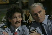 Plaza Patrol. Image shows from L to R: Trevor Purvis (Bobby Ball), Bernard Cooney (Tommy Cannon). Copyright: Yorkshire Television.