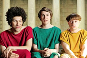 Plebs. Image shows from L to R: Stylax (Joel Fry), Marcus (Tom Rosenthal), Grumio (Ryan Sampson). Image credit: RISE Films.