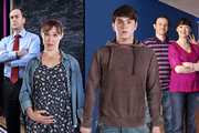 Pramface. Image shows from L to R: Alan Derbyshire (Angus Deayton), Laura Derbyshire (Scarlett Alice Johnson), Jamie Prince (Sean Michael Verey), Keith Prince (Ben Crompton), Sandra Prince (Bronagh Gallagher). Copyright: BBC / Little Comet.