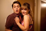 Pramface. Image shows from L to R: Jamie Prince (Sean Michael Verey), Laura Derbyshire (Scarlett Alice Johnson). Copyright: BBC / Little Comet.