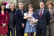Pramface. Image shows from L to R: Sandra Prince (Bronagh Gallagher), Keith Prince (Ben Crompton), Jamie Prince (Sean Michael Verey), Laura Derbyshire (Scarlett Alice Johnson), Alan Derbyshire (Angus Deayton), Janet Derbyshire (Anna Chancellor). Copyright: BBC / Little Comet.