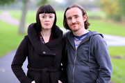 Pramface. Image shows from L to R: Sandra Prince (Bronagh Gallagher), Keith Prince (Ben Crompton). Copyright: BBC / Little Comet.