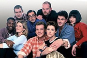 All Quiet On The Preston Front. Image shows from L to R: Diesel (Tony Marshall), Lloydy (Adrian Hood), Ally (Kate Gartside), Spock (Alistair McGowan), Hodge (Colin Buchanan), Polson (David MacCreedy), Mel (Angela Lonsdale), Eric (Paul Haigh), Dawn (Caroline Catz). Copyright: BBC.