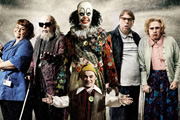 Psychoville. Image shows from L to R: Joy Aston (Dawn French), Oscar Lomax (Steve Pemberton), Mr Jelly (Reece Shearsmith), Robert Greenspan (Jason Tompkins), David Sowerbutts (Steve Pemberton), Maureen Sowerbutts (Reece Shearsmith). Image credit: British Broadcasting Corporation.
