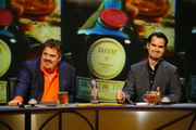 QI. Image shows from L to R: Phill Jupitus, Jimmy Carr. Copyright: TalkbackThames.