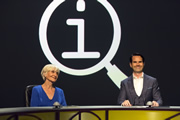 QI. Image shows from L to R: Sheila Hancock, Jimmy Carr. Copyright: TalkbackThames.