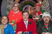 QI. Image shows from L to R: Alan Davies, Jo Brand, Stephen Fry, Brendan O'Carroll, Phill Jupitus. Copyright: TalkbackThames.