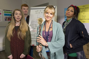 Radges. Image shows from L to R: Lauren (Lauren Lyle), Kieran (Nick Preston), Linda (Sarah Hadland), Mab (Lois Chimimba). Copyright: BBC.