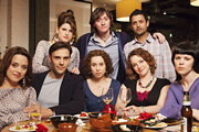 Reunited. Image shows from L to R: Hannah (Zoe Tapper), Martin (Joseph Millson), Sophie (Jemima Rooper), Sarah (Michelle Terry), Ed (Ed Byrne), Belinda (Emma Stansfield), Danny (Navin Chowdhry), Fran (Sarah Jane Potts). Copyright: BBC.
