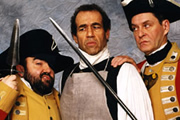 Revolting People. Image shows from L to R: Sergeant McGurk (Andy Hamilton), Samuel Oliphant (Jay Tarses), Captain Brimshaw (James Fleet). Copyright: BBC.