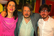 Richard Herring's Edinburgh Fringe Podcast 2011. Image shows from L to R: Lou Sanders, Richard Herring, Matthew Crosby.