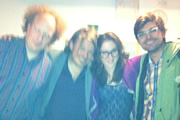 Richard Herring's Edinburgh Fringe Podcast 2011. Image shows from L to R: Andy Zaltzman, Richard Herring, Nadia Kamil, John-Luke Roberts.