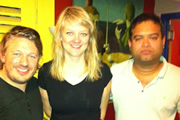 Richard Herring's Edinburgh Fringe Podcast 2011. Image shows from L to R: Richard Herring, Tania Edwards, Paul Sinha.