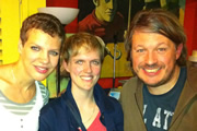 Richard Herring's Edinburgh Fringe Podcast 2011. Image shows from L to R: Francesca Martinez, Holly Walsh, Richard Herring.