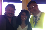 Richard Herring's Edinburgh Fringe Podcast 2011. Image shows from L to R: Richard Herring, Shappi Khorsandi, Simon Donald.