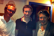 Richard Herring's Edinburgh Fringe Podcast 2011. Image shows from L to R: Simon Munnery, Matt Green, Richard Herring.