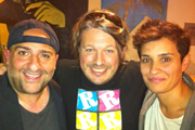 Richard Herring's Edinburgh Fringe Podcast 2011. Image shows from L to R: Omid Djalili, Richard Herring, Jen Brister.