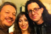 Richard Herring's Edinburgh Fringe Podcast 2011. Image shows from L to R: Richard Herring, Isy Suttie, Andrew O'Neill.