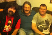 Richard Herring's Edinburgh Fringe Podcast 2012. Image shows from L to R: Mick Foley, Richard Herring, Gavin Webster.