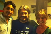 Richard Herring's Edinburgh Fringe Podcast 2012. Image shows from L to R: Ahir Shah, Richard Herring, Janet Ellis.