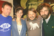 Richard Herring's Edinburgh Fringe Podcast. Image shows from L to R: Michael Legge, Felicity Ward, Richard Herring, David O'Doherty.