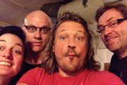 Richard Herring's Edinburgh Fringe Podcast 2013. Image shows from L to R: Zoe Lyons, Terry Alderton, Richard Herring, Ardal O'Hanlon.