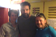 Richard Herring's Edinburgh Fringe Podcast 2013. Image shows from L to R: Chris Stokes, Rob Delaney, Richard Herring.