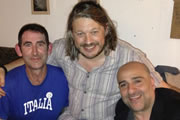 Richard Herring's Edinburgh Fringe Podcast. Image shows from L to R: Ben Moor, Richard Herring, Omid Djalili.